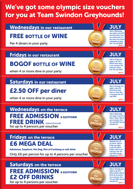 Swindon Greyhounds July Deals