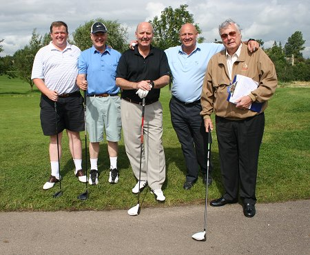 Eddie Shah and team with Peter Alliss at the Wiltshire Golf Club