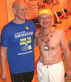 Mayor of Swindon, Councillor Michael Barnes with Olympic swimmer Duncan Goodhew in Swindon
