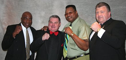 Earnie Shavers, Larry Holmes, Keith Mayo and Eddie Neilson in Swindon