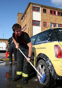 Firefighter charity car wash swindon