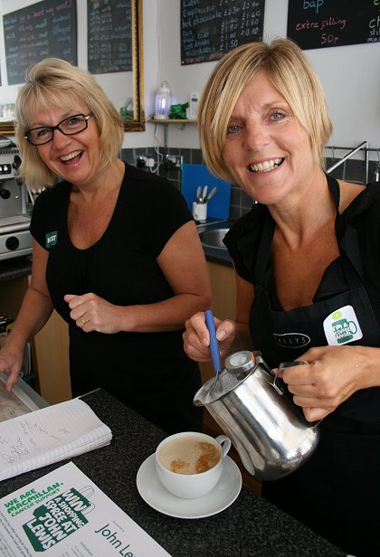Sue and jackie at Sally's Coffee Shop in Highworth