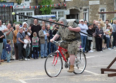 Medieval jousting on bikes in Highworth