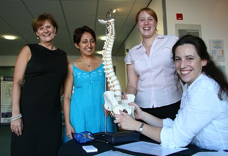 Lynn Chapman, manager at Basepoint with members of staff from the Chiropractic Health Clinic.