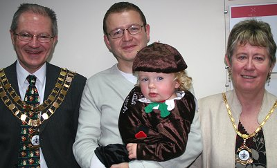 Arval Company Secretary Julian Brand with the Mayor and Mayoress