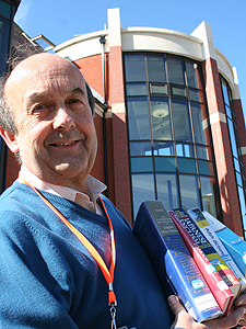Roger Trayhurn outside the new swindon central library