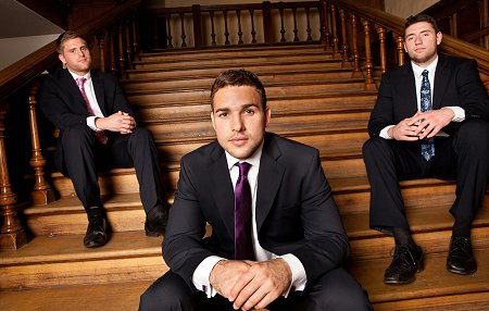 Bath Rugby Players wearing suits by Jeff Banks at Swindon Designer Outlet