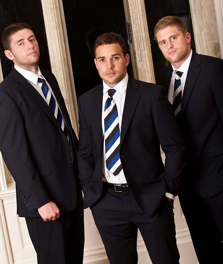 Bath rugby players suited out by Jeff Banks at Swindon Designer Outlet