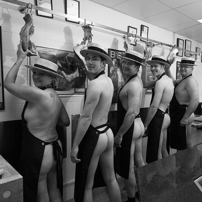 Andrews Meats in Swindon, stripping off for Highworth calendar!