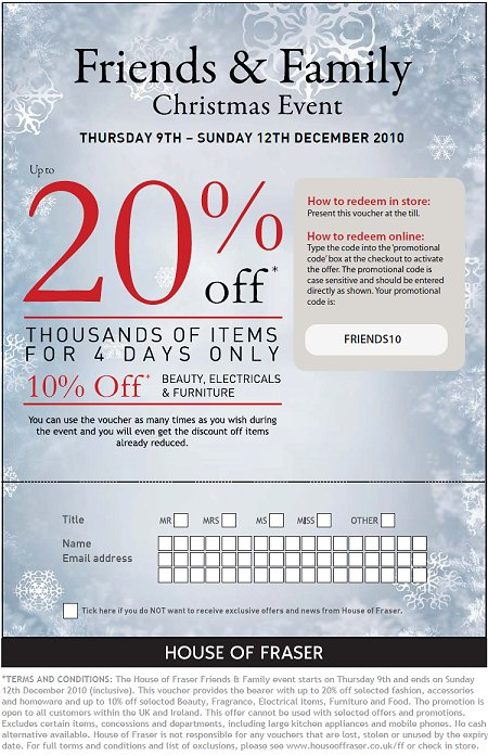 New codes for House of Fraser