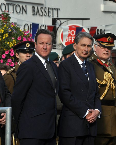 David Cameron and Philip Hammon at Royal Wootton Bassett