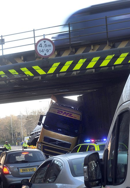 Lorry strikes bridge in Wootton Bassett Road, Swindon