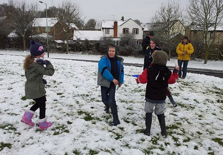 Snow ball fighting in West Swindon
