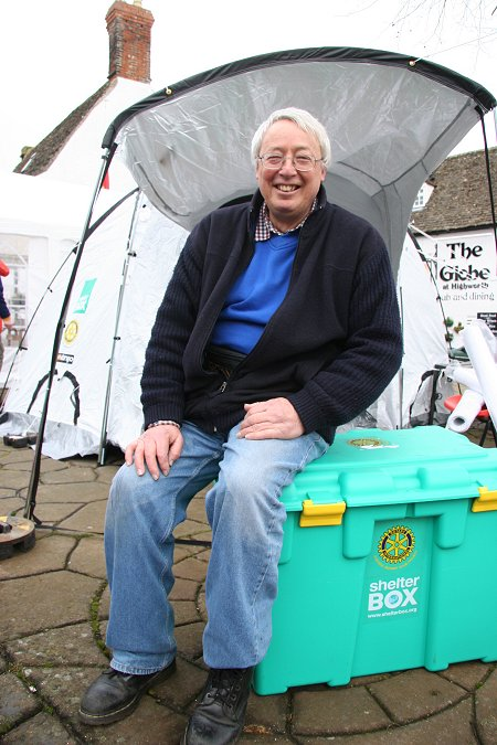 Terry Williams camps out in Highworth market square for a week to raise money for the shelterbox charity