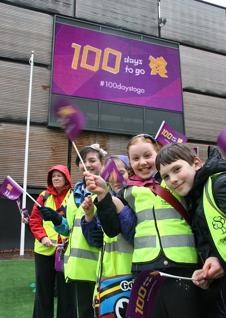 Olympics 100 day countdown in Swindon town centre