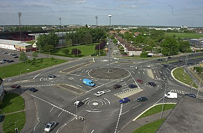 The Magic Roundabout Swindon - view from the main Swindon Fire Station
