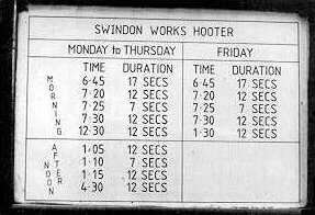 The Hooter Timetable
