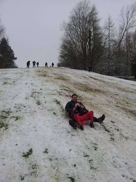 Sledging at Coate Water Swindon
