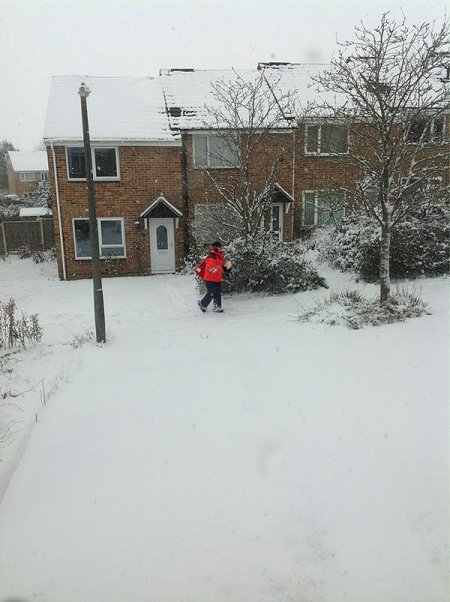 Post delivery in the snow in Swindon