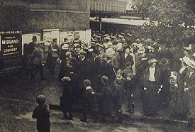 Crowds gather at Swindon Old Town Station to see off loved ones during WW1