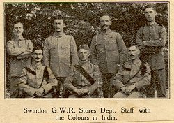 GWR Stores Dept. staff with colours in India