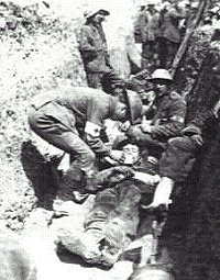 Tending the wounded in trenches in WW1