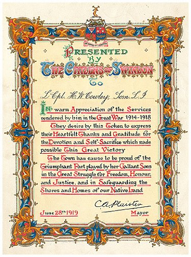 Certificate of appreciation given by the citizens of Swindon to Harold Cowley and all other surviving soldiers returning from WW1