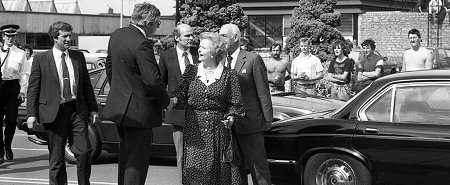 Maggie Thatcher arriving at PMH Swindon