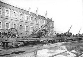 Guns leaving the GWR Works Swindon for the frontline