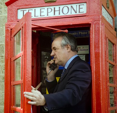 James Gray MP opening the Purton wi-fi phone box