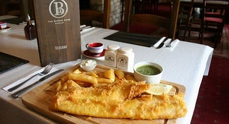 Fish and chips at The Bakers Arms, Badbury, Swindon