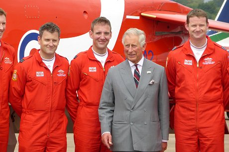 Prince Charles with the Red Arrows at RAF Fairford, Swindon