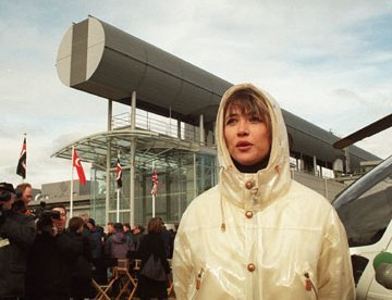 Sophie Marceau in Swindon during filming of the James Bond film The World is Not Enough at the Mororola factory