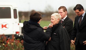 Dame Judi Dench in Swindon during the filming of the James Bond film The World is Not Enough at the Motorola factory