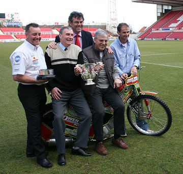 Don Rogers and Roger Smart with Swindon Speedway star Leigh Adams (r), Robins Team Manager Alun Rossiter and STFC Director Mike Bowden who organised the event