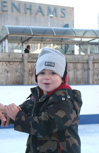 Two-year old Dillan Elliott enjoying the rink
