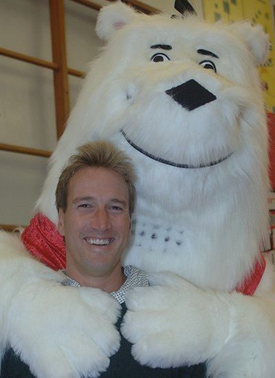 Ben Fogle with npower's mascot