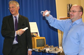 Swindon Museum of Computing curator Simon Webb, with Founder Jeremy Holt