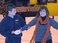 SwindonWeb's Mel takes a lesson from Adam Girling, Recreation Assistant at the Link Centre in Swindon