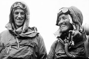 Sir Edmund Hillary and Tenzing Norgay on their successful ascent of Everest