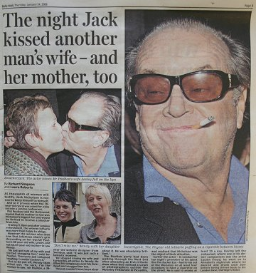 Jack Nicholson kisses Swindon woman in the Mail