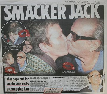 Jack Nicholson kisses Swindon woman in Daily Mirror