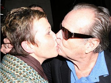 Jack Nicholson and Lesley Poulton snogging outside the Ritz Hotel 22 Jan 2008