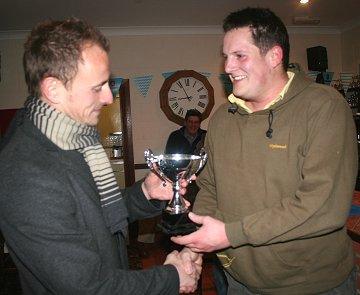 SwindonWeb's Fothergill receiving Man of the Match from Blair Sturrock