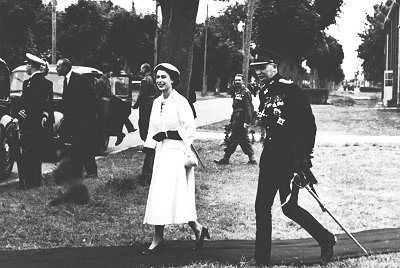 Queen Elizabeth II at Chiseldon Camp 1954