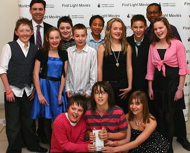 Students from Isambard Community School in Swindon celebrate winning their First Light Award for Best Documentary