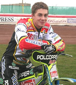 Troy Batchelor riding the Swindon Speedway Robins to victory at the Abbey Stadium