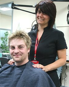 Mads Korneliussen gets a makeover at Swindon College