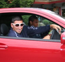 Swindon Town's Billy Paynter and Jerel Ifel in SwindonWeb's Mercedes