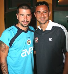 Swindon Town's Hasney Aljofree with Mateja Kezman